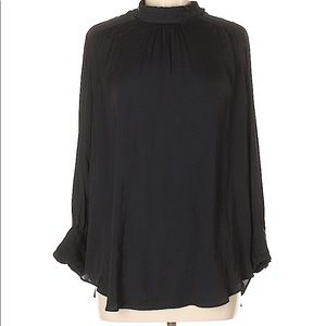 NWT ZARA BLACK MOCK NECK LONG SLEEVE BLOUSE